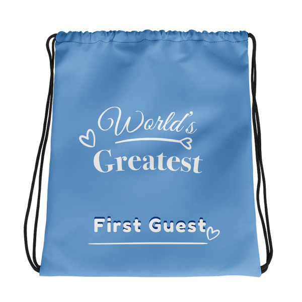World's Greatest First Guest Drawstring bag
