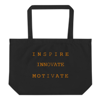 INSPIRE INNOVATE MOTIVATE Large organic tote bag (CREATE YOUR PERSONALIZED DESIGN)