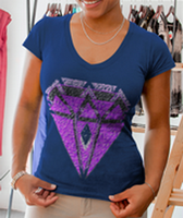 Purple Diamond Ladies' Deep V-Neck Soft Wash T-Shirt