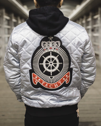 "Yacht Pay ""Capitán"" Satin Bomber Jacket"