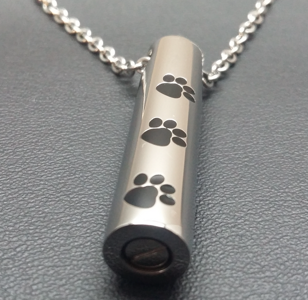Paw print cylinder necklace