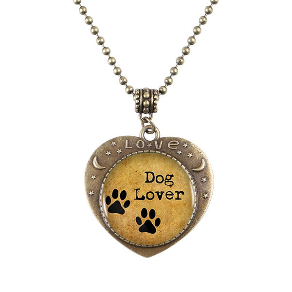 Paw Bronze Heart shaped Necklace