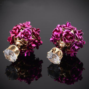 Gold Plated Romantic Double Sided Rose Flower Stud Earrings