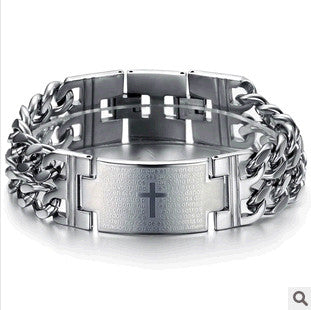 Men's Stainless Steel Cross Bracelet