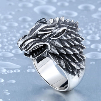 Stainless Steel Game of Thrones Wolf Biker Ring