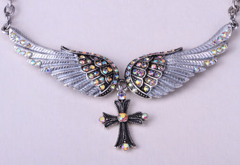 Women Biker's Angel Wing Cross Necklace