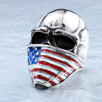 Men's American Flag Stainless Steel Skull Ring