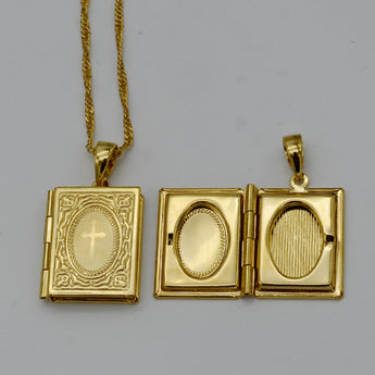 Women's Gold Cross Bible Box Pendant & Necklace Chains
