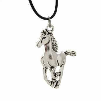 Women's Vintage Silver Horse Pendant Short Necklace