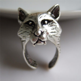 Wolf Head Rock Punk biker Ring