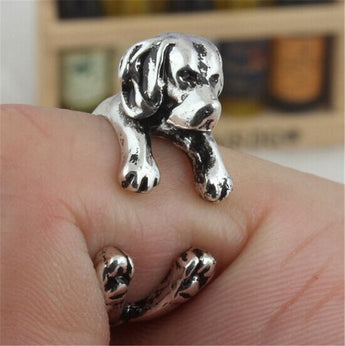 Women's Antique Silver Cute Puppy Beagle Ring