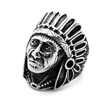 Vintage Indian Chief Antique Silver Biker Ring