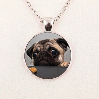 Women's Glass Dome Pug Pendant Necklace