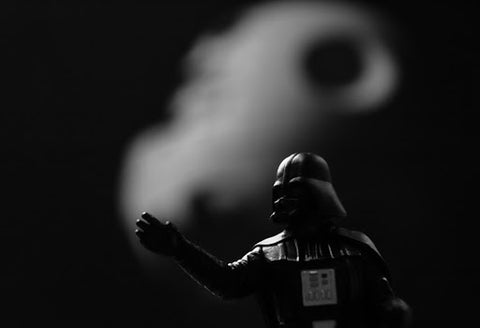 black and white photo of leggo darth vader