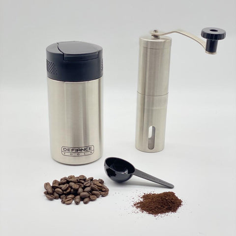 insulated french press and coffee grinder