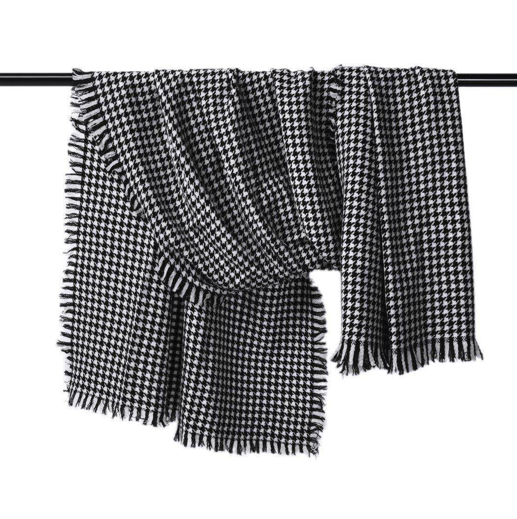 "100% Inner Mongolian Wool Houndstooth Scarf (86"" x 31"")"