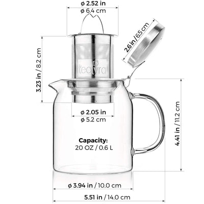 pyxis Glass teapot kettle size