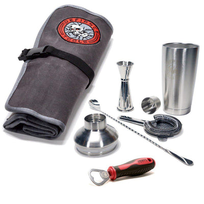 Mixology Bar Tool Set & Waxed Canvas Tool Roll Combo