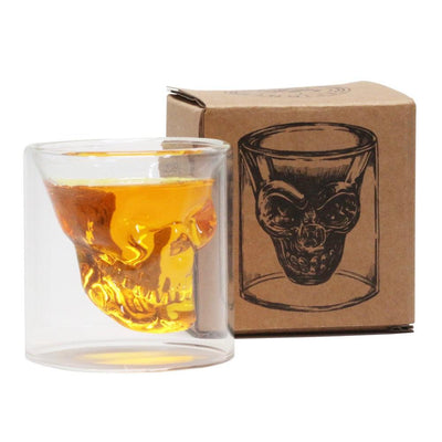 Borosilicate glass double wall skull glass