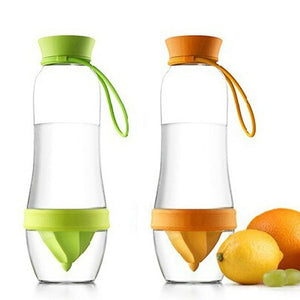 green and orange fruit infusing water bottle