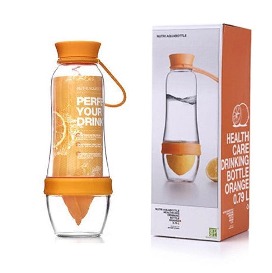 Orange fruit infusing water bottle