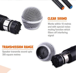 Portable Bluetooth Amplifier with 2 Wireless Microphones