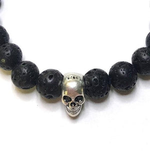 Lava bead and skull bracelet
