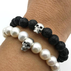 Lava bead and pearl bracelet with skull bead