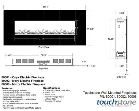 Touchstone Onyx 50 inch Wall Mount Electric Fireplace