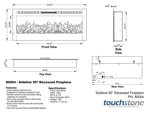 Touchstone Sideline Recessed 50 Inch Electric Fireplace White dimensions