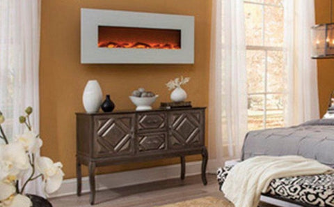 Touchstone Ivory 50 inch Wall Mount Electric Fireplace in White