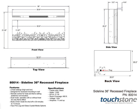 Touchtone Sideline Recessed 36 inch Electric Fireplace dimensions