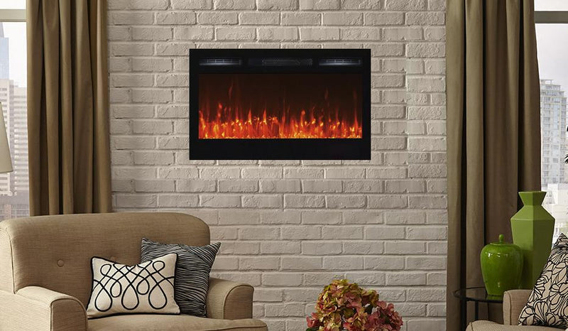 Touchstone Sideline Recessed 40 Inch Electric Fireplace in Black