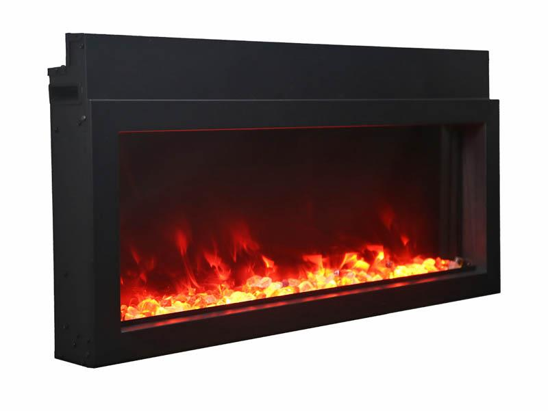 Amantii Electric Fireplace Panorama Built-in Extra Slim 50 inch in Black Orange Flames
