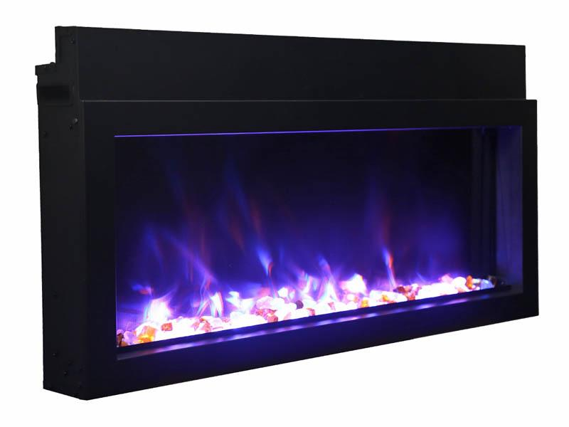 Amantii Electric Fireplace Panorama Built-in Extra Slim 60 inch in Black Blue Flames