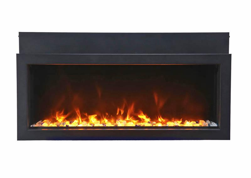 Amantii Electric Fireplace Panorama Built-in Extra Slim 60 inch in Black Orange Flames