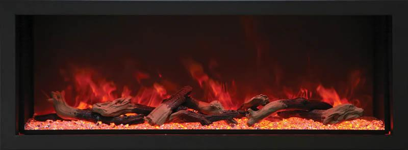Amantii Indoor Outdoor Electric Fireplace Panorama Built-in Deep 72 inch in Black