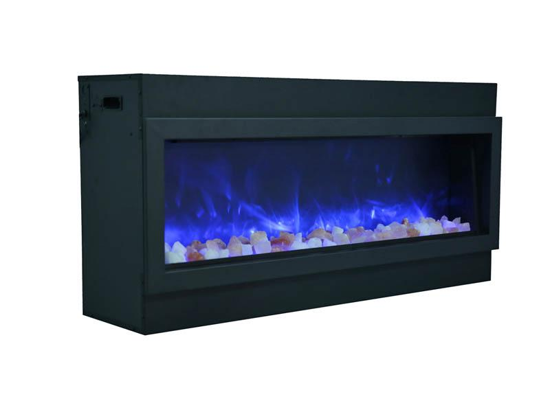 "Amantii 72"" Slim Indoor or Outdoor Electric Fireplace Built Blue Flame"