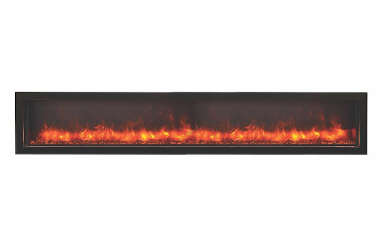 Amantii Indoor Outdoor Electric Fireplace Panorama Built in Deep 88 inch in Black