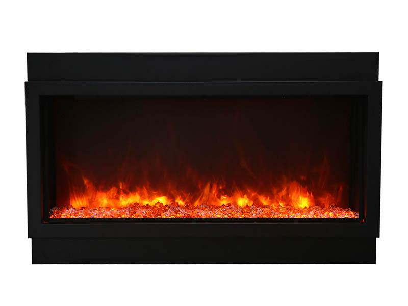 Amantii Electric Fireplace Indoor Outdoor Panorama Built-in Deep Extra Tall 88 inch in Black
