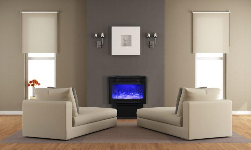 Amantii Free Standing 26 inch Electric Fireplace in Black Glass
