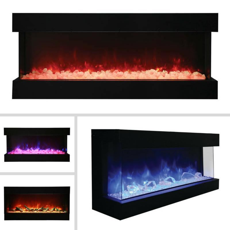 Amantii Tru-View 3-sided 60 inch Indoor Outdoor Electric Fireplace in Black