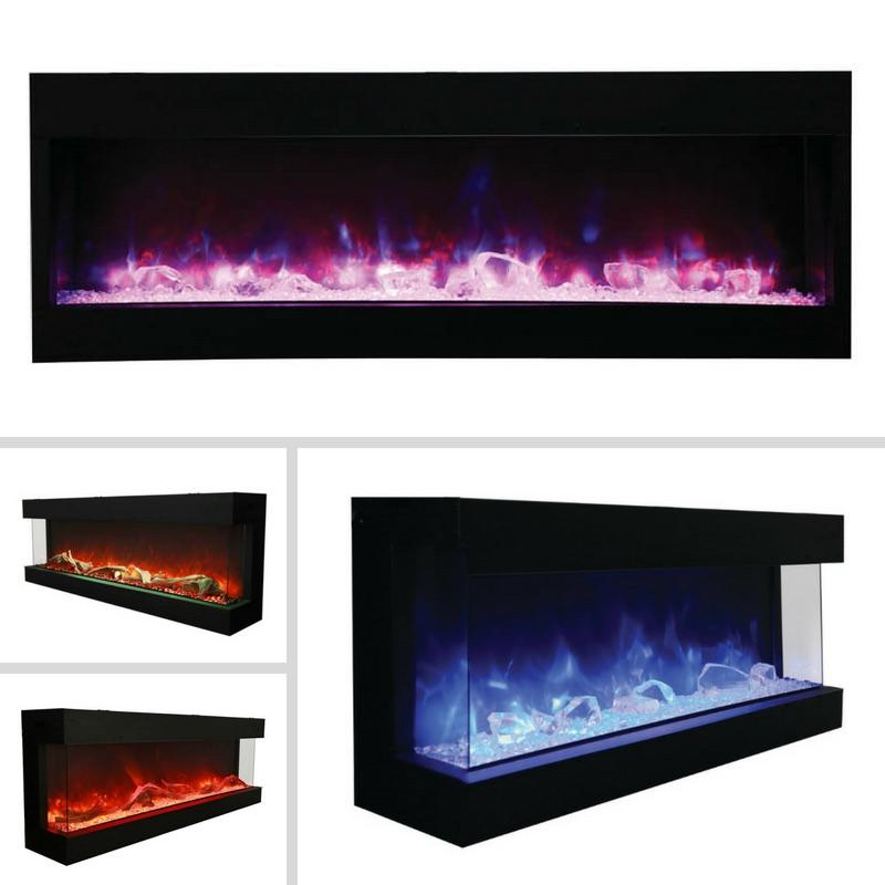 Amantii Tru-View 3-sided 72 inch Indoor Outdoor Electric Fireplace in Black