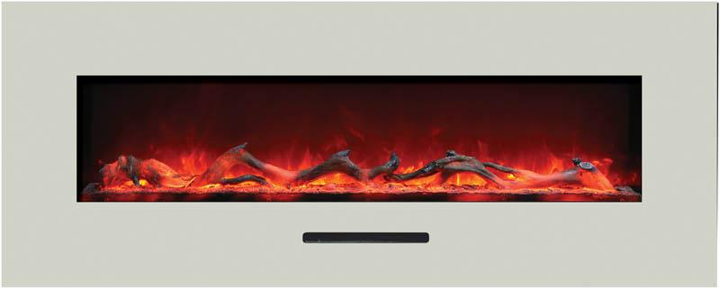 Amantii 48 inch Wall Mount Electric Fireplace in White Glass