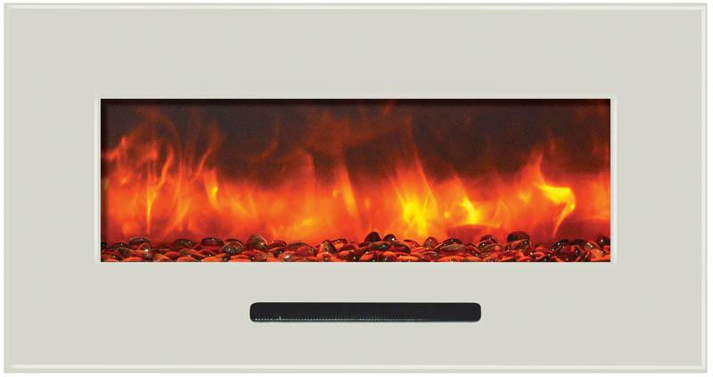 Amantii 34 inch Wall Mount Electric Fireplace in White Glass