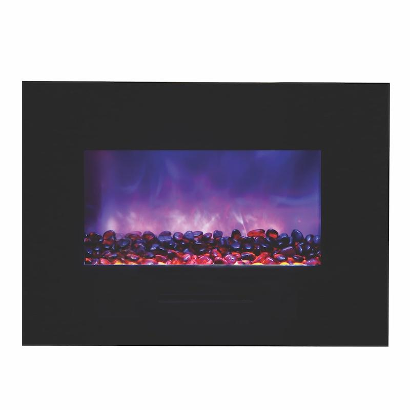 Amantii Wall Mount Flush 26 inch Electric Fireplace in Black Glass