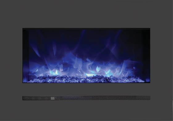 Sierra Flame Wall Mount Flush 26 inch Electric Fireplace Blue Flame