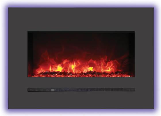 Sierra Flame Wall Mount Flush 26 inch Electric Fireplace Red Flame