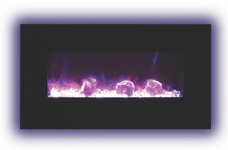 Amantii 34 inch Wall Mount Electric Fireplace in Black Glass