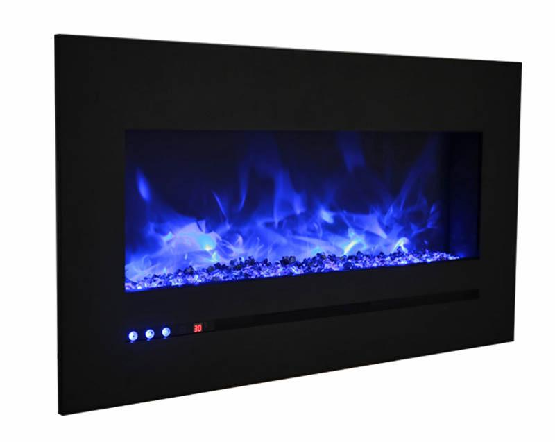 Sierra Flame Wall Mount Flush 34 inch Electric Fireplace in Black Steel Angle
